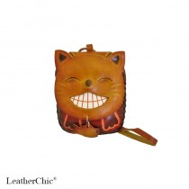Large Size Animal Purse Shaped Laughing Cat with Fish