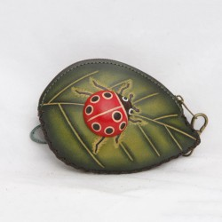 Large Size Coin Purse Soft CP 118.1 Ladybug on Leaf
