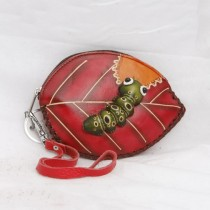 Large Size Coin Purse Soft CP 120.3 Caterpillar on Leaf