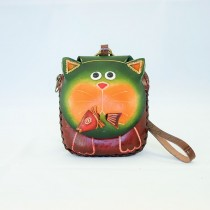 Large Size Animal Purse Shaped Cat with Fish