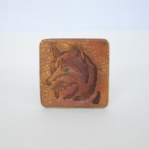 Hand Carved Fridge Magnet Wolf