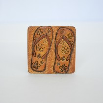 Hand Carved Fridge Magnet Flip-Flop