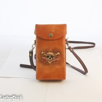 Hand Carved Cross-body Bag HB 30 Skull