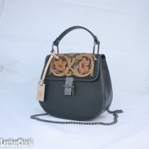 Leather Hand Carved Mid Size Handbag HB 701