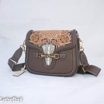 Leather Hand Carved Mid Size Handbag HB 702