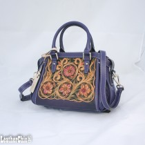 Leather Hand Carved Mid Size Handbag HB 703