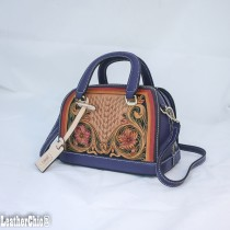Leather Hand Carved Mid Size Handbag HB 705