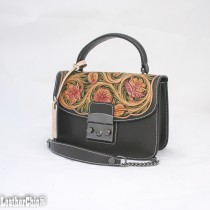 Leather Hand Carved Mid Size Handbag HB 706