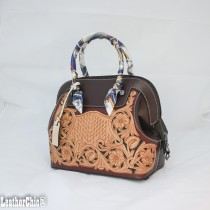 Leather Hand Carved Large Size Handbag  HB 802