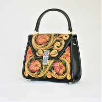 Leather Hand Carved Round Bag HB 902.1