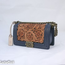 Leather Hand Carved Rectangle Bag HB 903