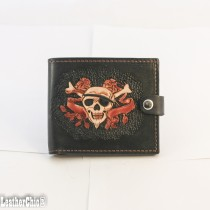 Hand Carved Men's Wallet WS 030 Skull