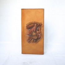 Hand Carved Long Wallet WL 007 Horse