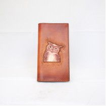Hand Carved Long Wallet WL 016 Owl