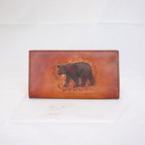 Hand Carved Long Wallet WL 019 Bear