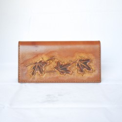 Hand Carved Long Wallet WL 020 Maple Leaf