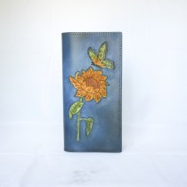 Hand Carved Long Wallet WL 021 Sunflower and Butterfly