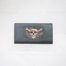 Hand Carved Long Wallet WL 030 Skull