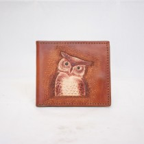 Hand Carved Men's Wallet WS 016 Owl