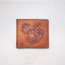 Hand Carved Men's Wallet WS 036 Moose